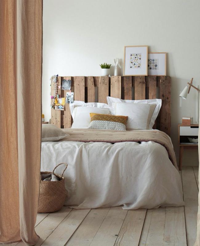 deco chambre bois tete de lit palette