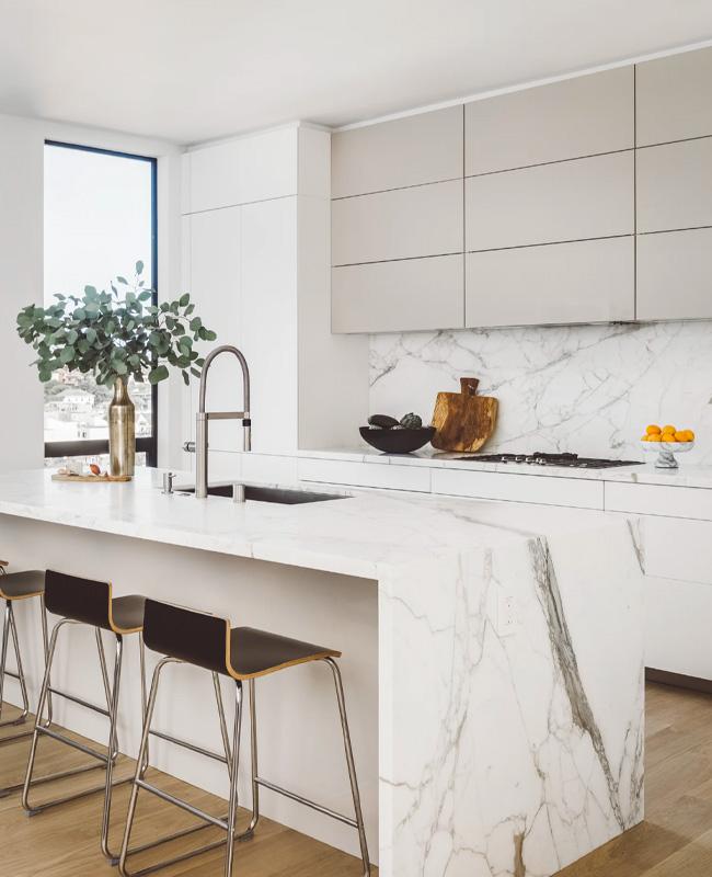 deco cuisine marbre blanc plan de travail