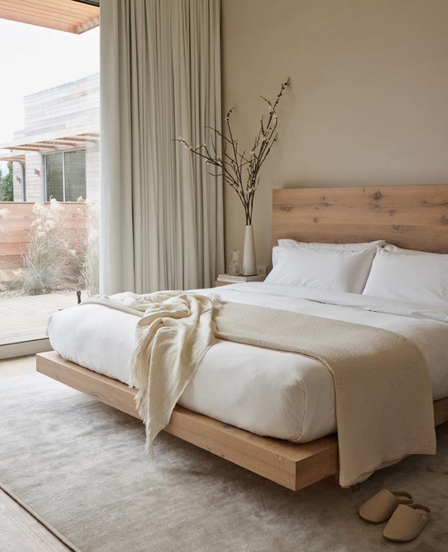 deco chambre bois beige japandi