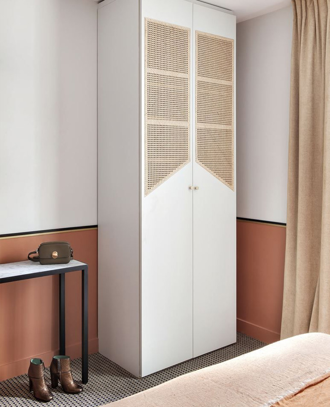 armoire cannage moderne chambre