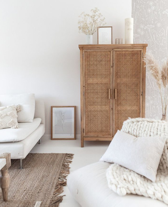 armoire cannage boheme deco salon