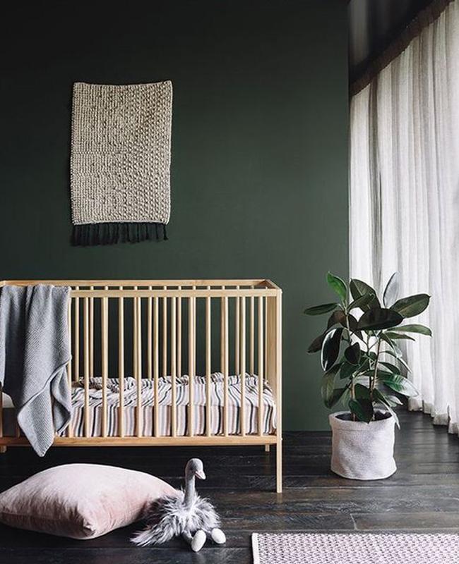 deco chambre bebe moderne vert kaki