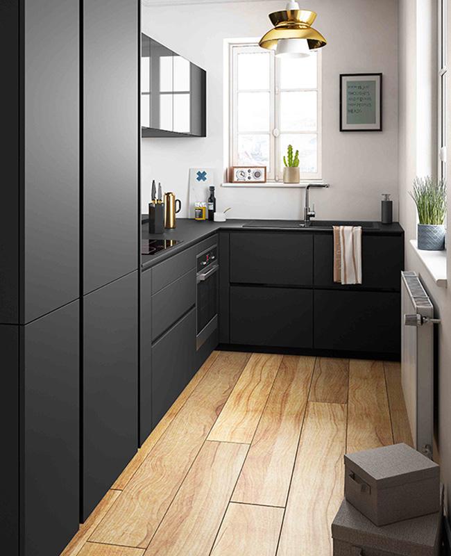 deco cuisine noir bois moderne
