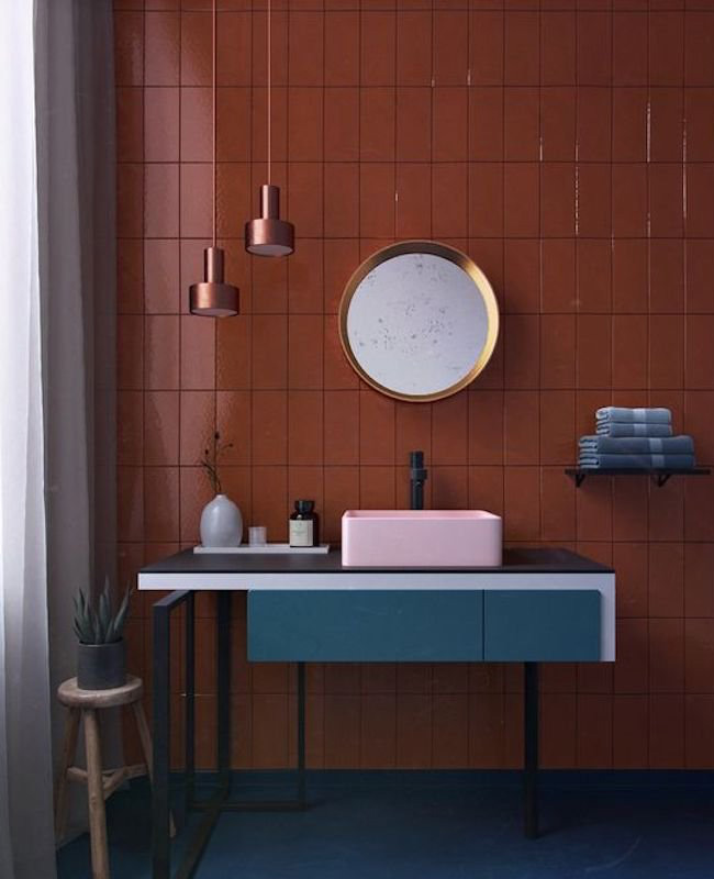 deco salle de bain bleu terracotta