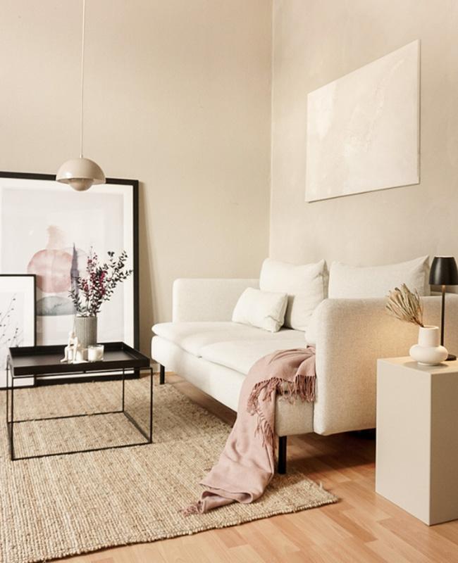 deco salon moderne beige rose