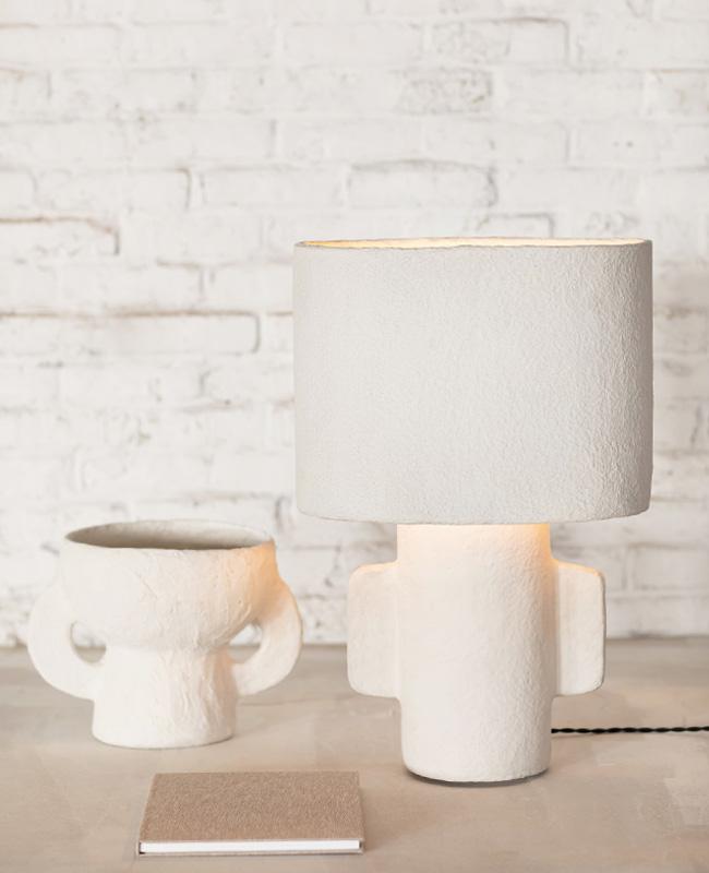 lampe texture papier mache