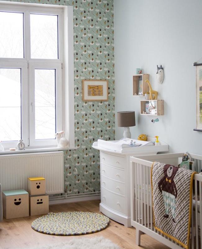 papier peint vert deco chambre bebe