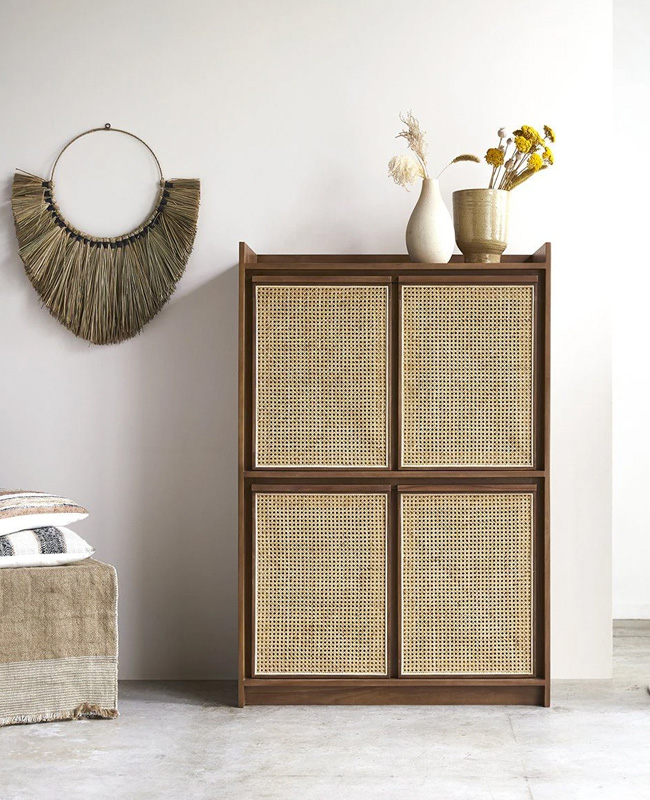 armoire cannage basse teck
