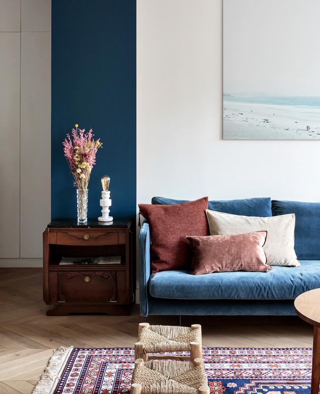 deco salon bleu terracotta