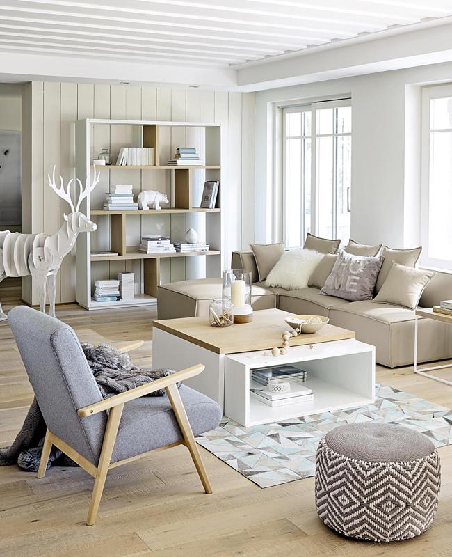 table basse blanc bois salon nordique