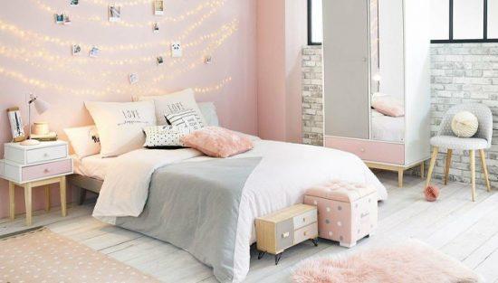 deco chambre ado rose gris
