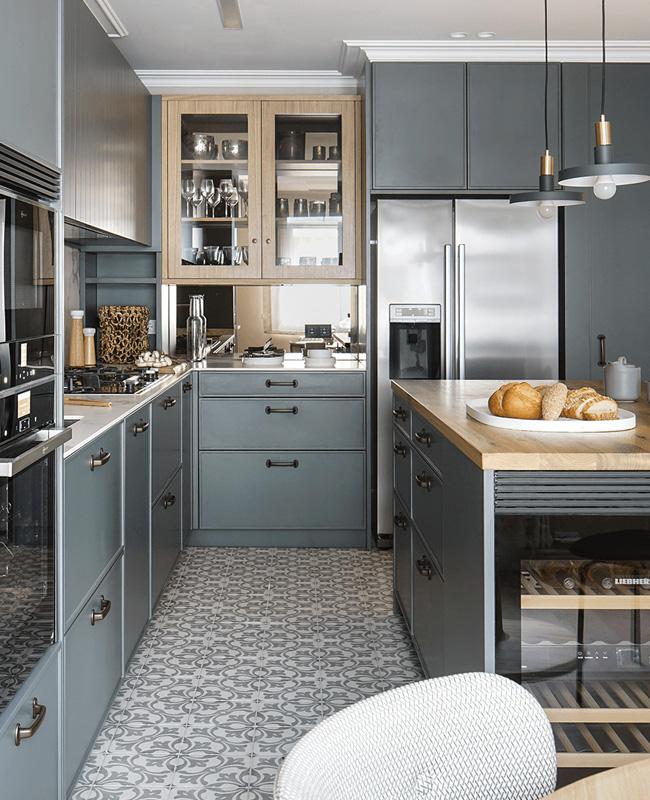 deco cuisine gris bois moderne