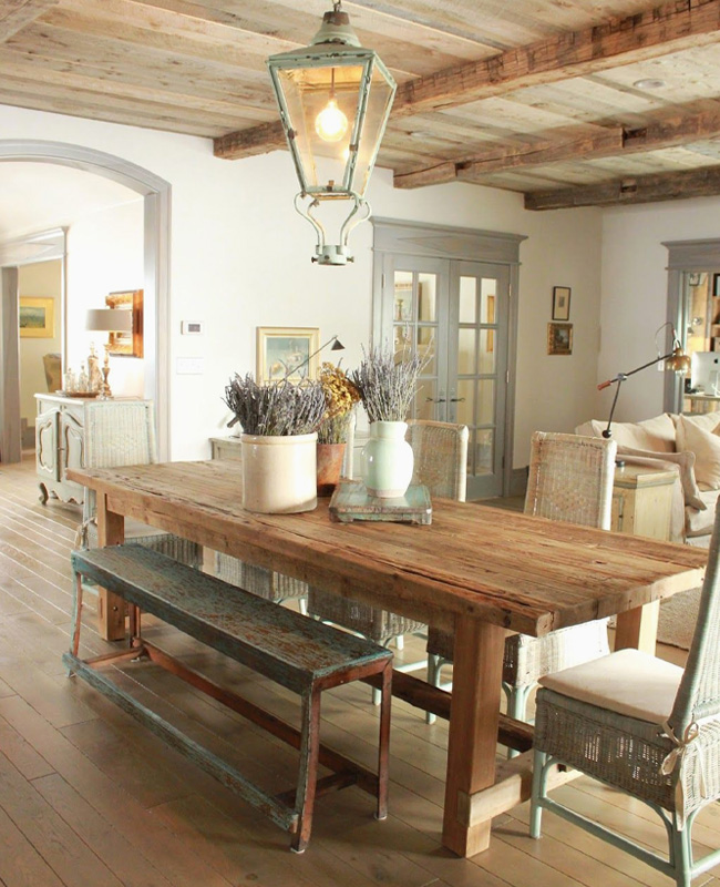deco salle a manger campagne chic bois
