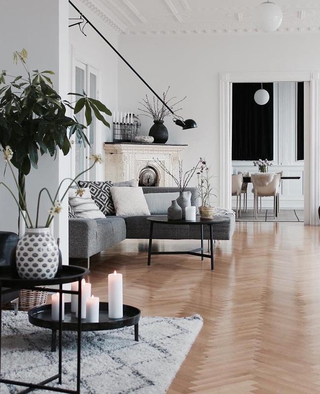 deco salon moderne canape gris