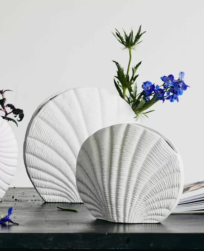 vase coquillage blanc