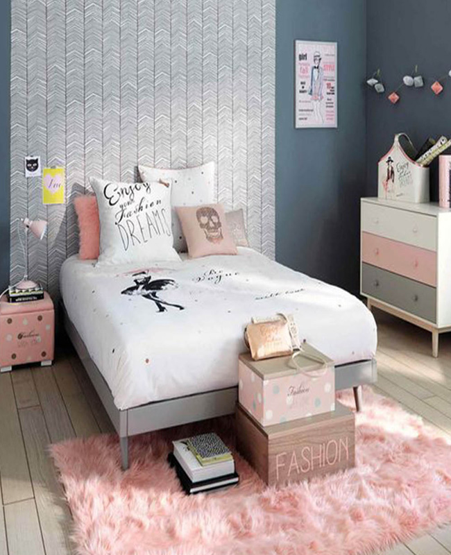 deco chambre ado  moderne rose gris