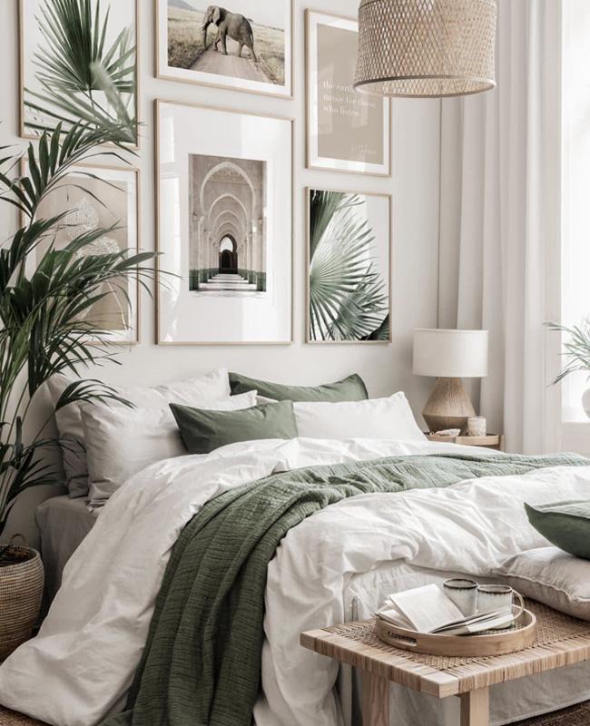 deco chambre vert beige tropicale
