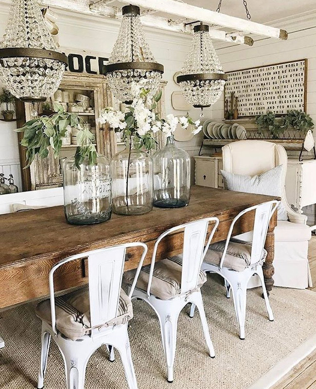deco salle a manger campagne chic industrielle