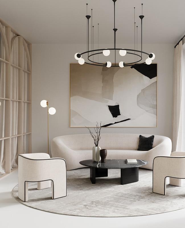deco salon moderne noir blanc beige