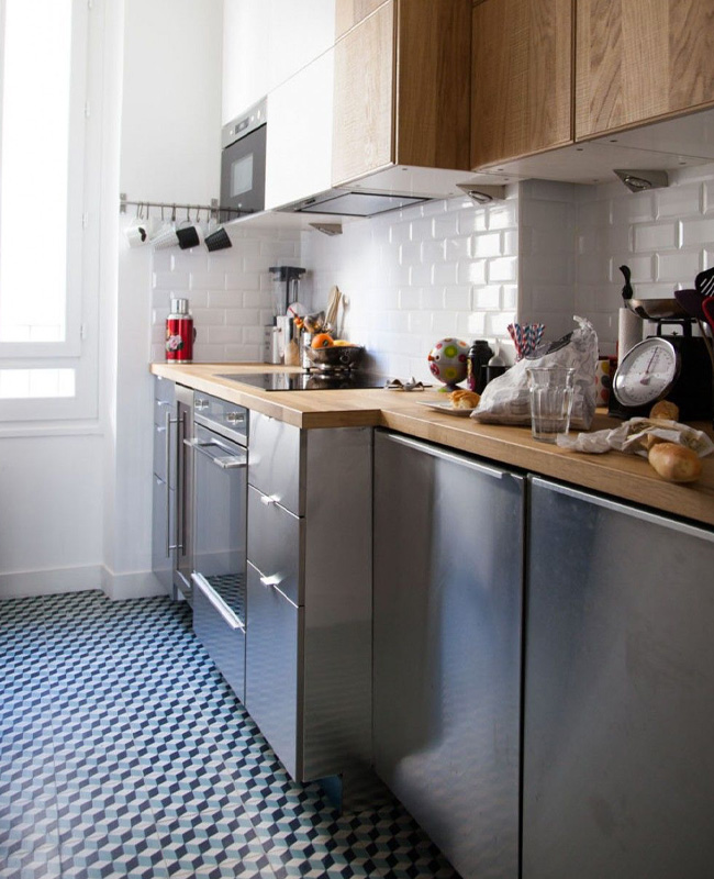 deco cuisine gris bois retro