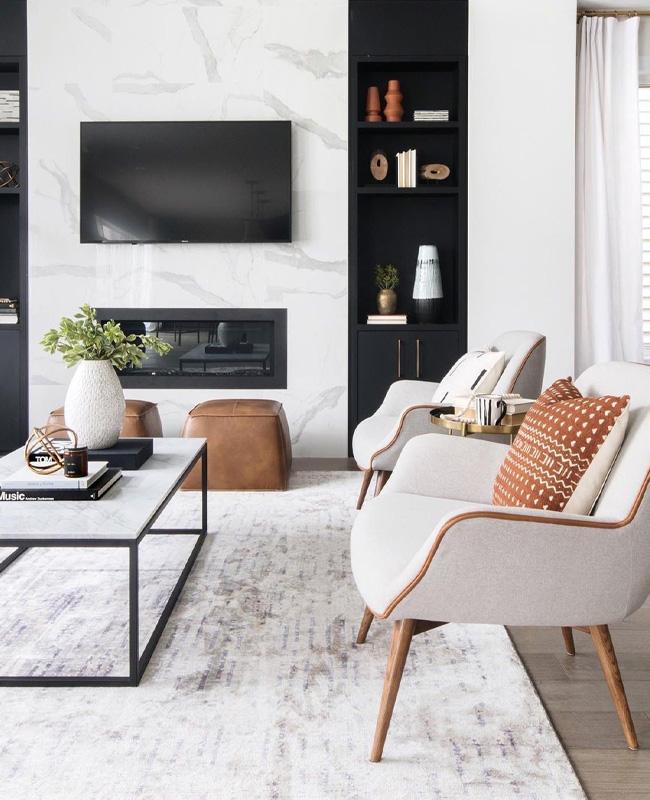 deco moderne noir marbre blanc