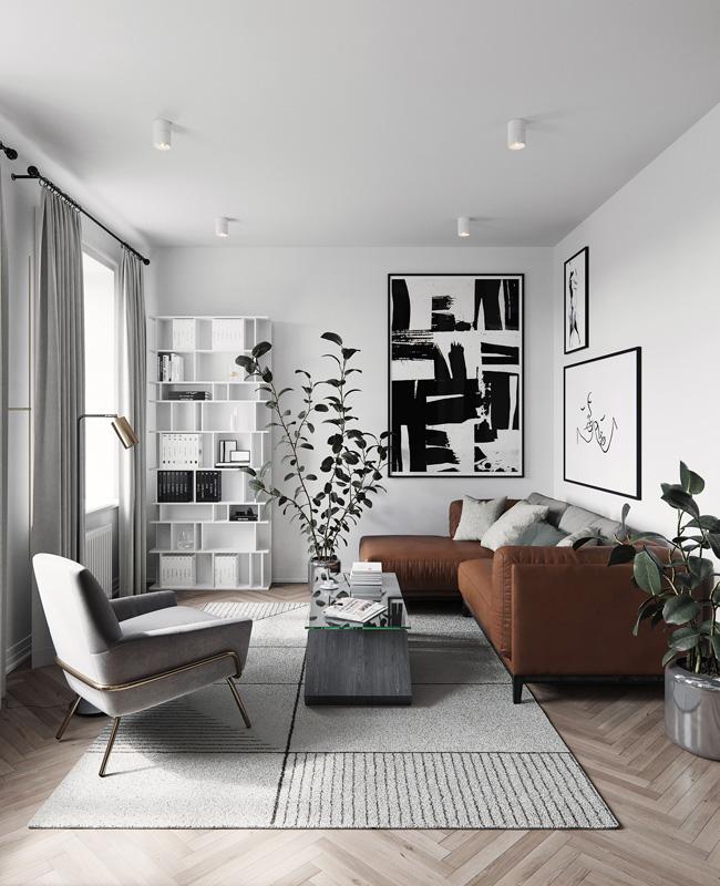deco salon moderne gris tapis fauteuil