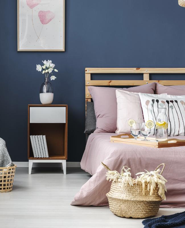deco rose bleu chambre moderne