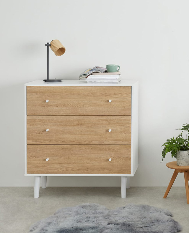 commode vintage blanc bois