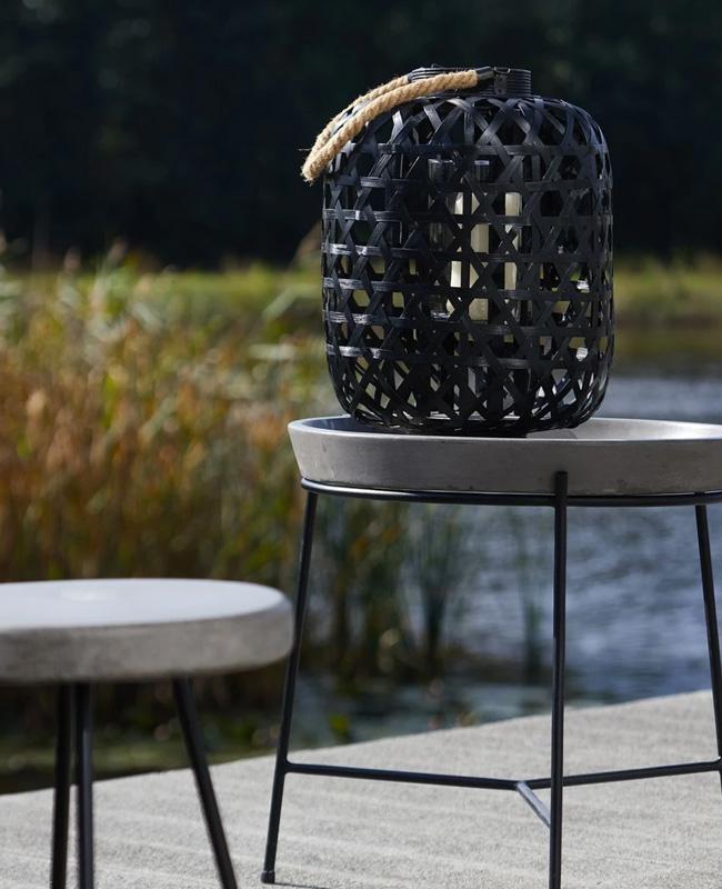 table appoint béton métal noir