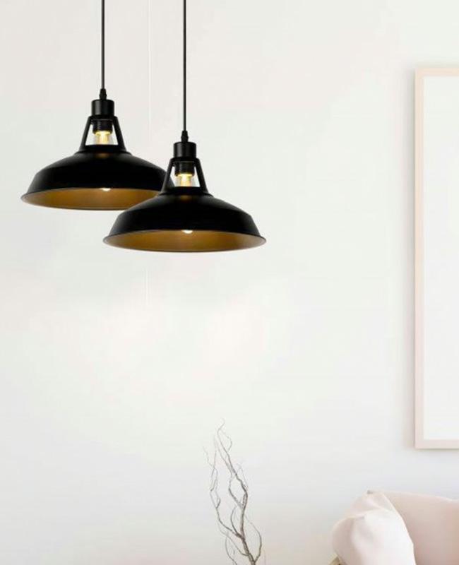 suspension metal noir industrielle