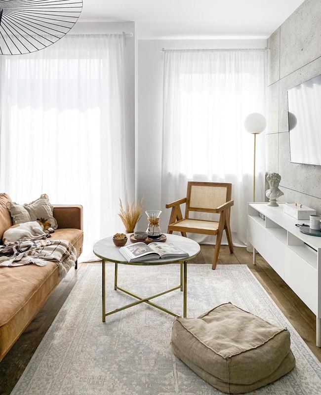 deco salon moderne table basse marbre blanc