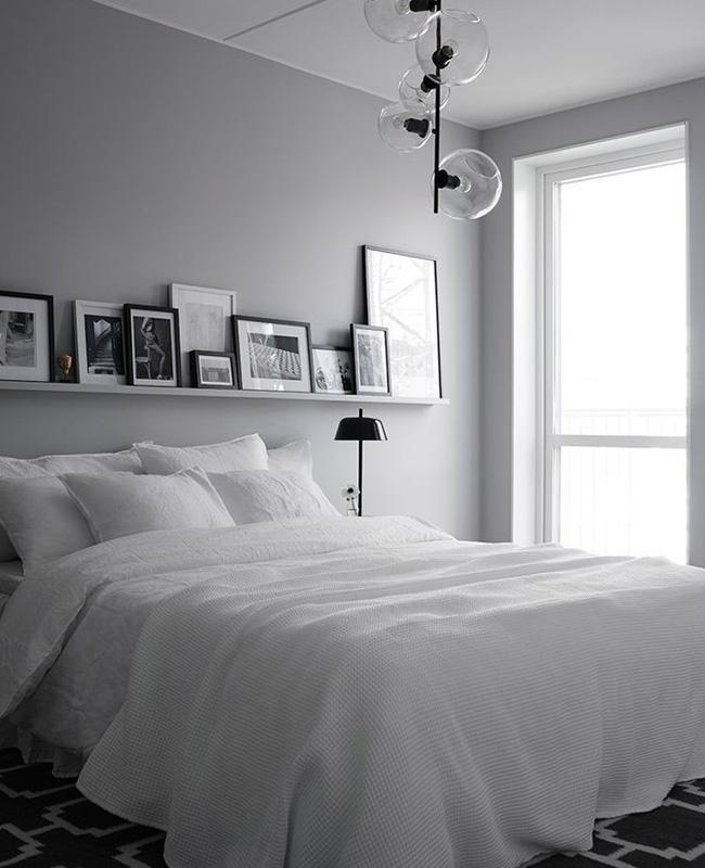 deco chambre moderne gris blanc