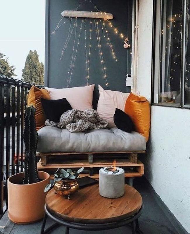 deco balcon gris bois