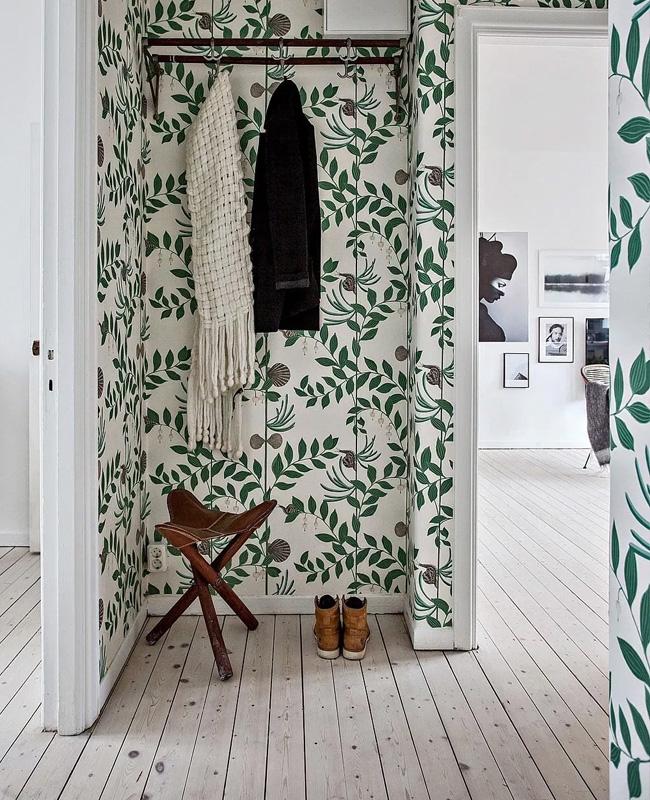 deco couloir papier peint vegetal