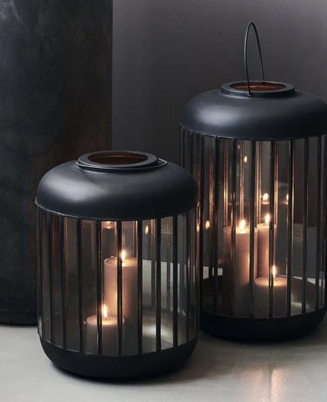 lanterne metal ronde noire