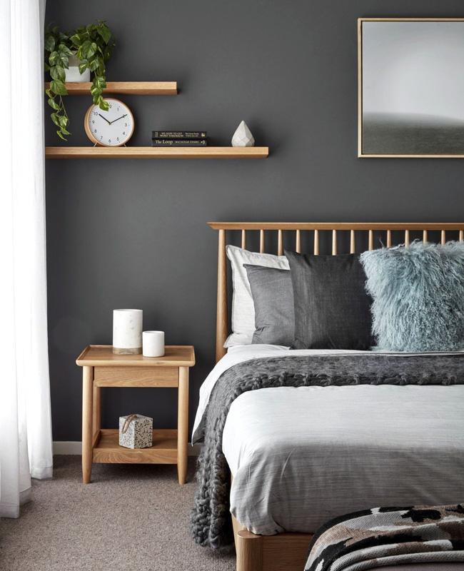deco chambre gris blanc bois