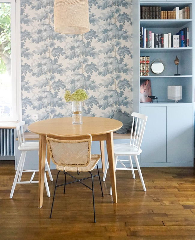 deco salle a manger bleu papier peint vegetal