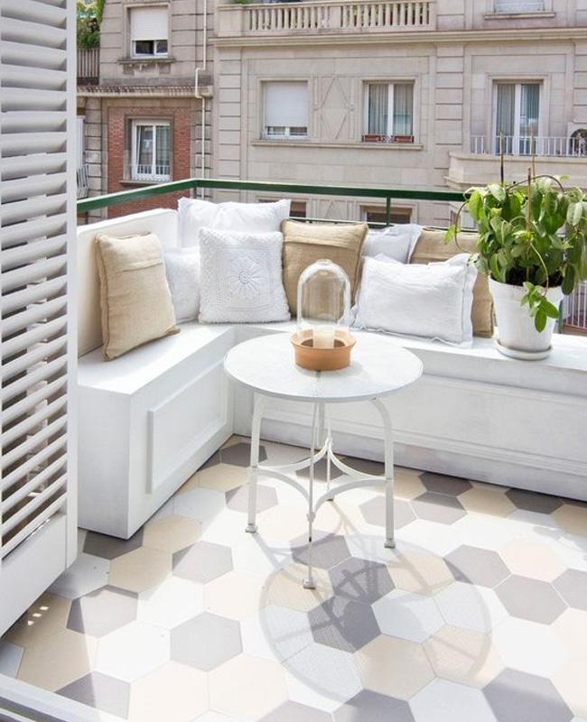deco balcon gris blanc beige