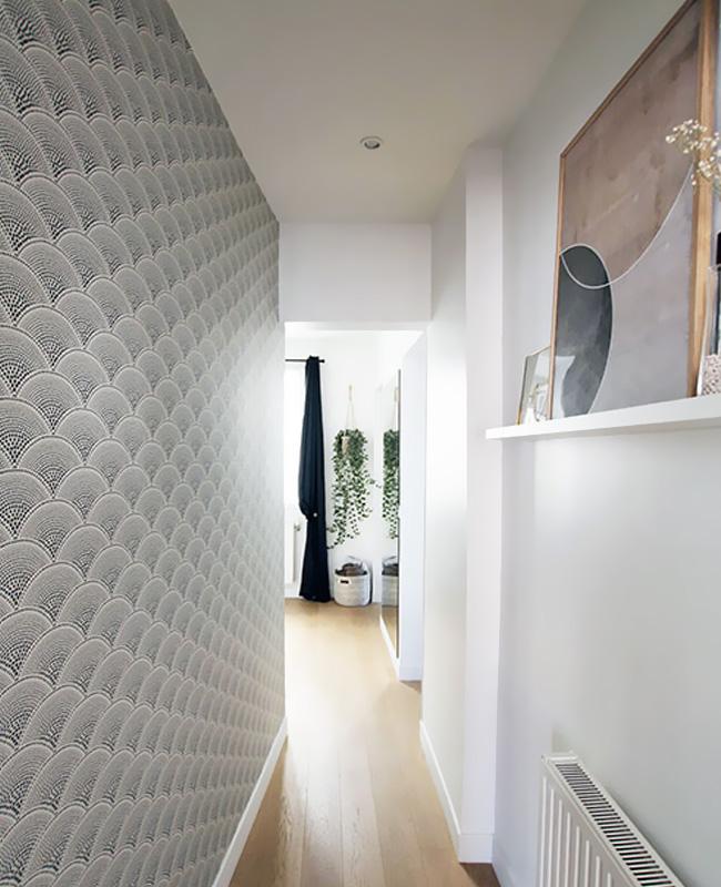 deco couloir papier peint noir blanc