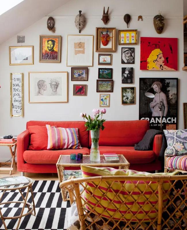 canape rouge deco salon