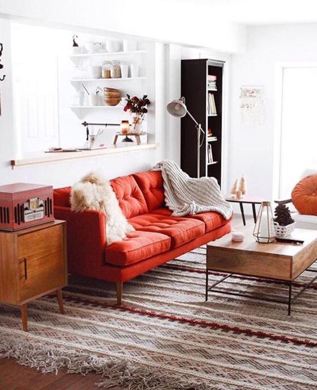 canape rouge salon vintage