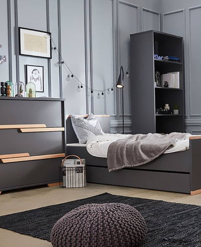 deco chambre moderne commode grise