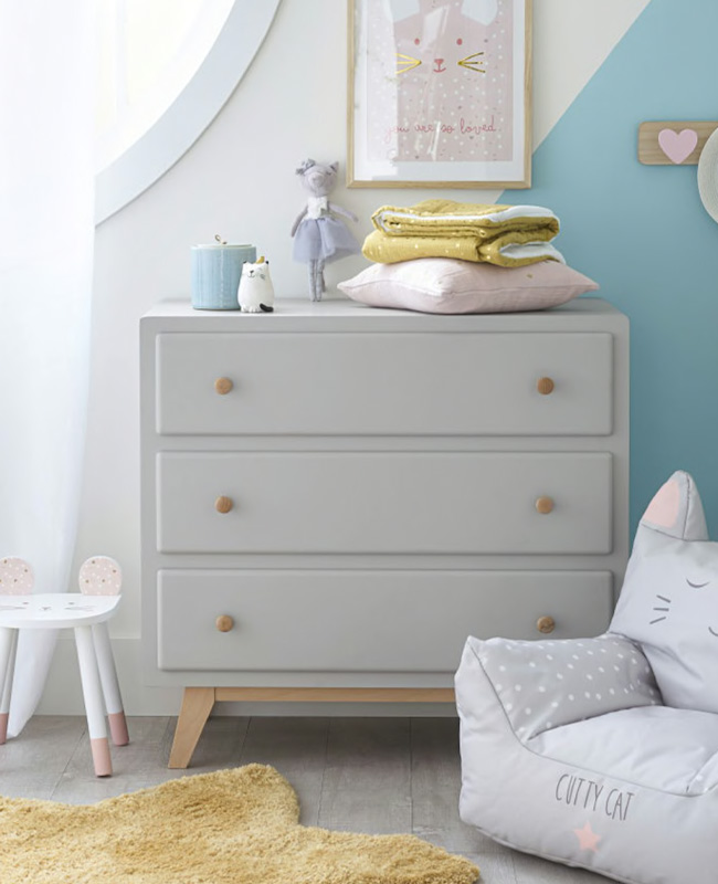 commode scandinave grise