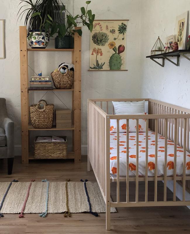 deco chambre bebe orange vert nature