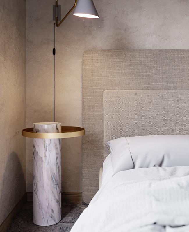 deco chambre table de chevet marbre