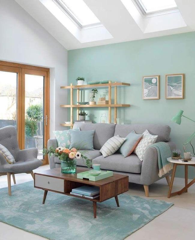 deco salon vert celadon bois