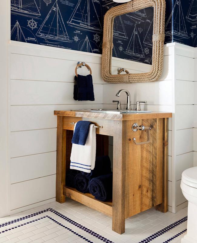 deco toilettes wc papier peint bord de mer