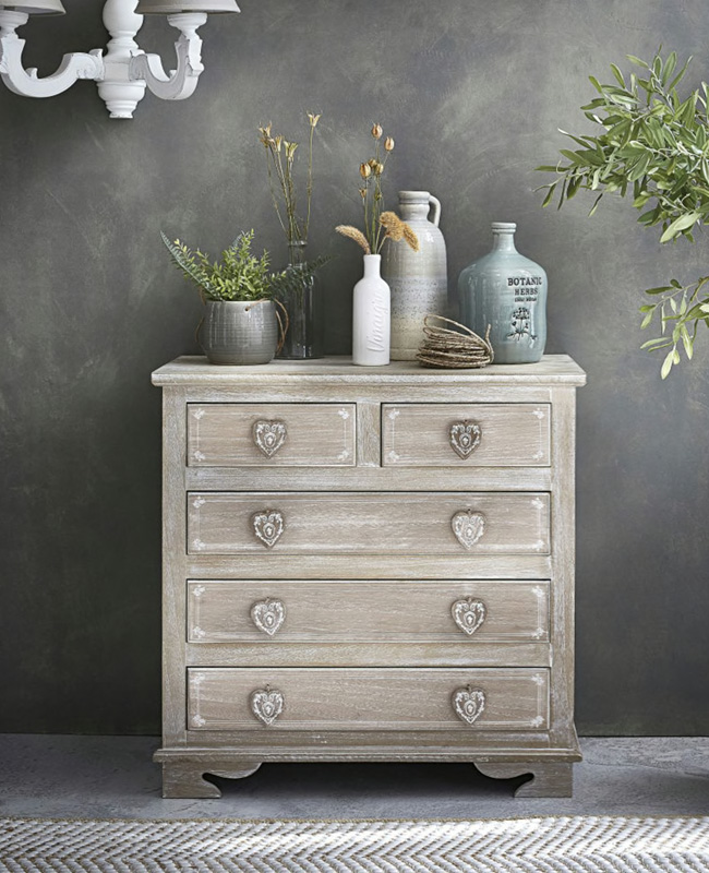 commode campagne gris patine