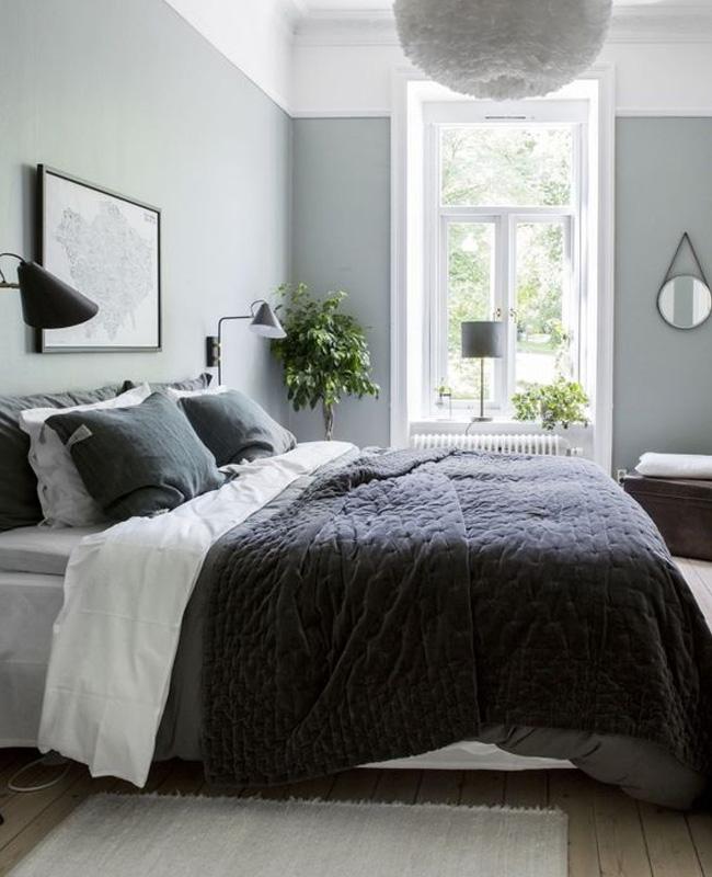 deco chambre scandinave gris plaid