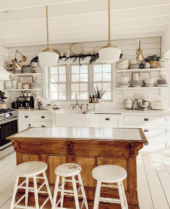 deco cuisine campagne blanc bois